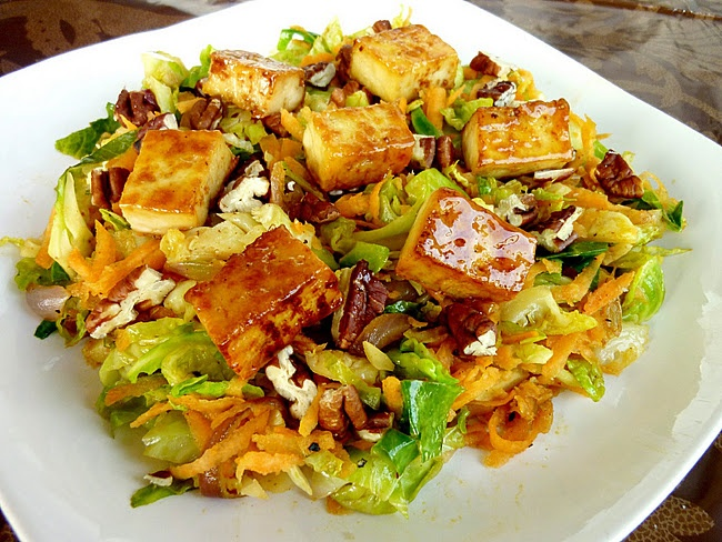 Brussel Sprouts Toss with Caramelized Tofu have as salad with brussle ...
