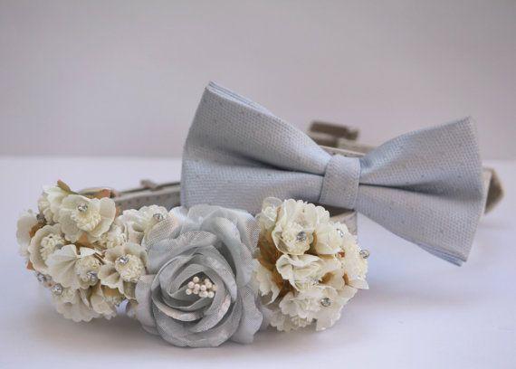 wedding dog collars silver dog collar silver bow tie chic dog col