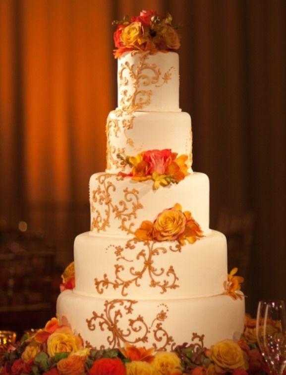 Stylish Fall theme orange wedding cake Orange and teal ...
