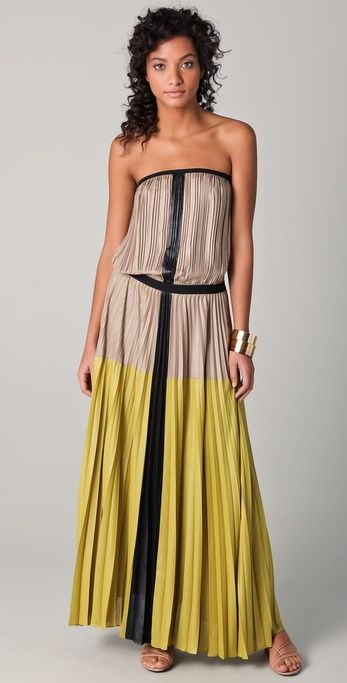 """This colorblock sateen dress features accordion pleats and an elastic waist from BCBG MaxAzria """"Lilyan Strapless Maxi Dress"""""""