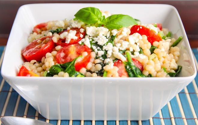Israeli Couscous with Tomatoes Feta and Spinach Ocean View Kitchen