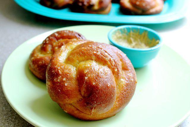 challah pretzel rolls