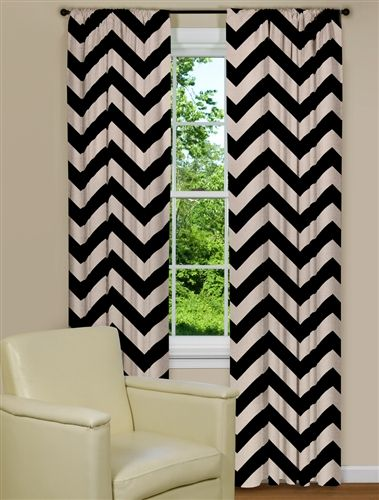 Large Chevron Print Curtain Panel   Game room   Pinterest