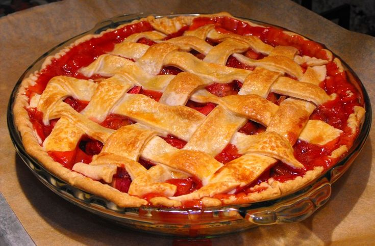 Lattice Topped Strawberry Rhubarb Pie... in case you wanted it Vicki ...