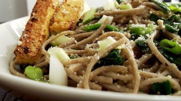 Garlic parmesan soba noodles. I don't really dig soba, but I'm sure ...