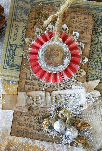 Gorgeous Tim Holtz inspired tag by Shelly Hickox (Stamptramp blog).