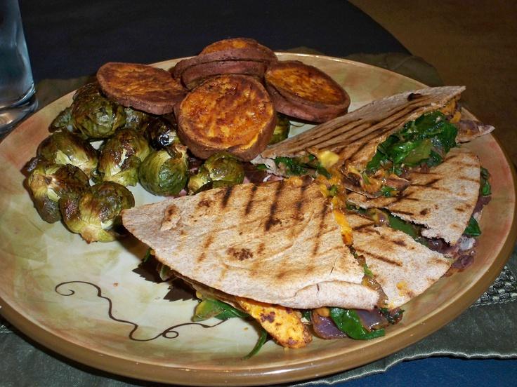 sweet potato, black bean, and Swiss chard quesadillas