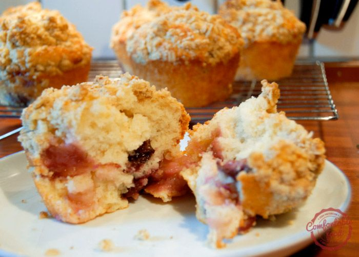 comfortable food - sour cherry muffins with crumble topping