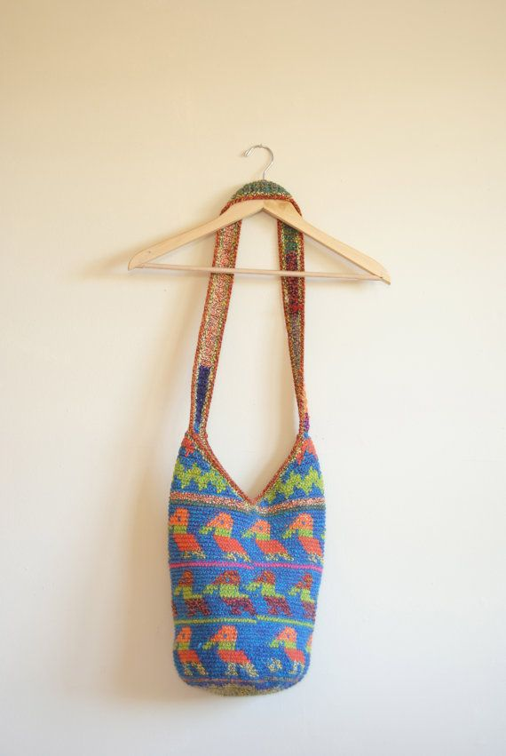 Crochet Back Bag : crochet bag, knitted bag, thick crochet back with zipper Medium to la ...