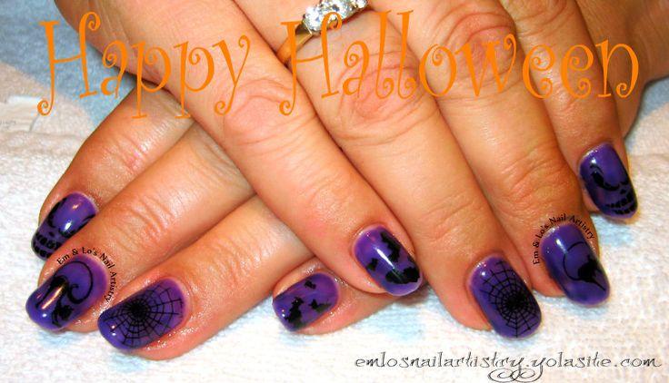 """Halloween Nails ~ Natural Nail Gel Overlay ~ Shellac """"Grape Gum"""