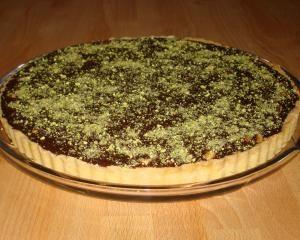 Chocolate, hazelnut and caramel tart (minus the dusting stuff, I would ...
