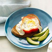 red or yellow bell pepper ring in skillet. Crack an egg into center of ring and cook until white is just firm, 1 to 2 minutes; flip and cook about 2 minutes more. Serve with 1/4 avocado, thinly sliced, and 1 slice whole wheat toast.