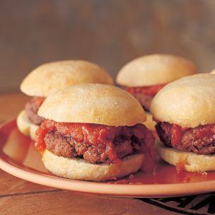 Mini Burgers with Smoky Tomato Chutney. Mmm... smoky tomato chutney!