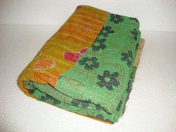 Kantha Quilt Bedding Bedspread 100 Organic Cotton Blanket