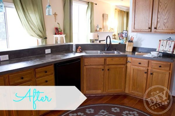 Countertop Makeover : Amazing Faux Concrete Countertop Makeover-I had no idea you could do ...