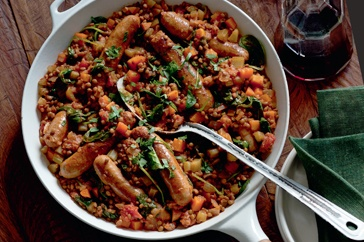 BRAISED LENTILS & SAUSAGES ~ recipe Chrissy Freer ~ pic Jeremy Simons ...