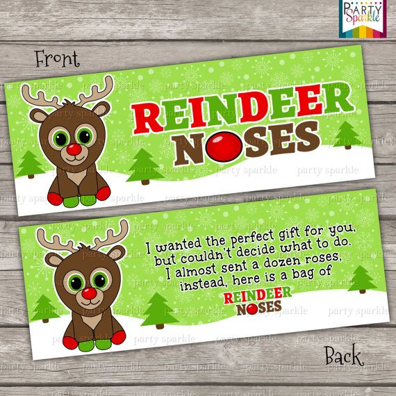 INSTANT DOWNLOAD Reindeer Noses Green Treat Bag by PartySparkle, $4.99
