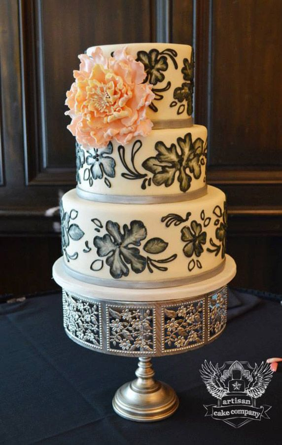 Black & Silver Hand Painted Flowers Wedding Cake