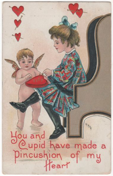 Girl Pushing Pins In A Heart Pin Cushion Vintage Valentine Postcard