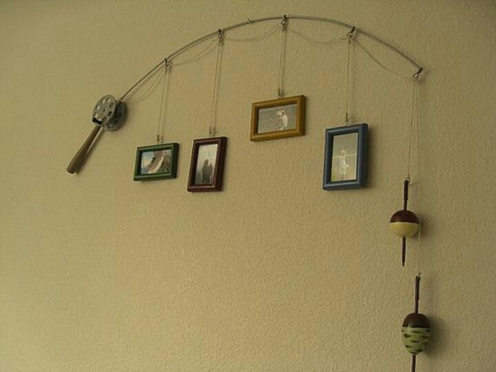 Fishing pole photo frame wall hanging cute for a boys room for Fishing pole decor