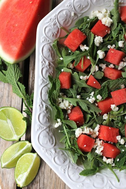 Watermelon, Feta and Mint Salad with Lime Dressing