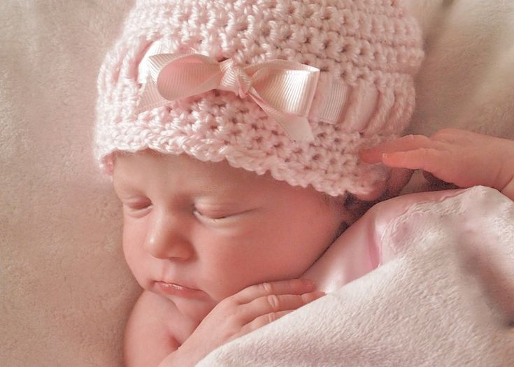Crochet Newborn Hat : Newborn Hat Baby Girl Bow, Crochet Baby Hat, Baby Girl Crochet Hat, H ...