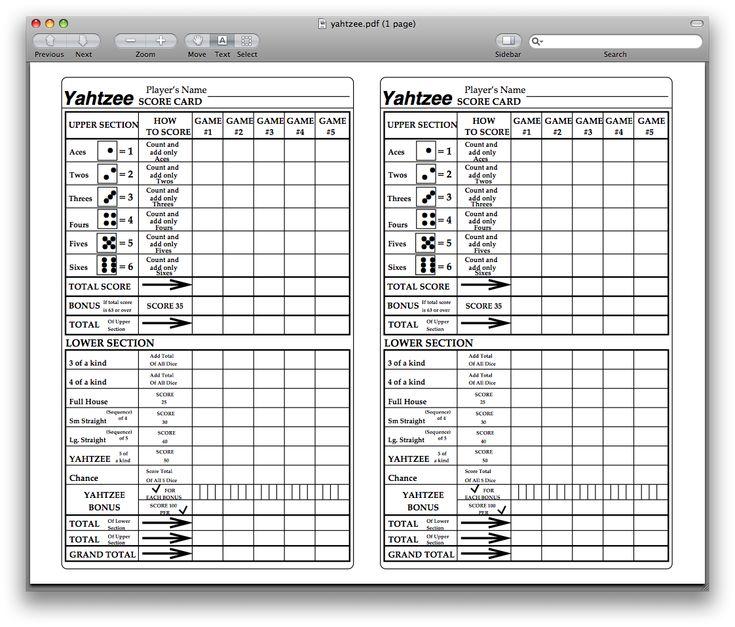 Large Printable Yahtzee Score Sheets