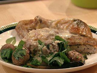 Baked Chicken with Herb Skin & Roasted Garlic Cream Gravy - Favorite ...