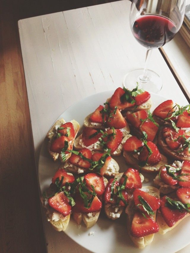Crostini With Brie Cheese, Strawberries, Honey & Basil Recipes ...