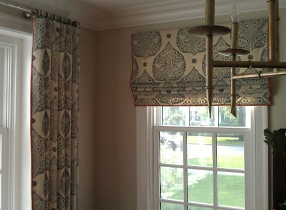 Drapes and roman shade window treatments pinterest for Roman blinds for large windows