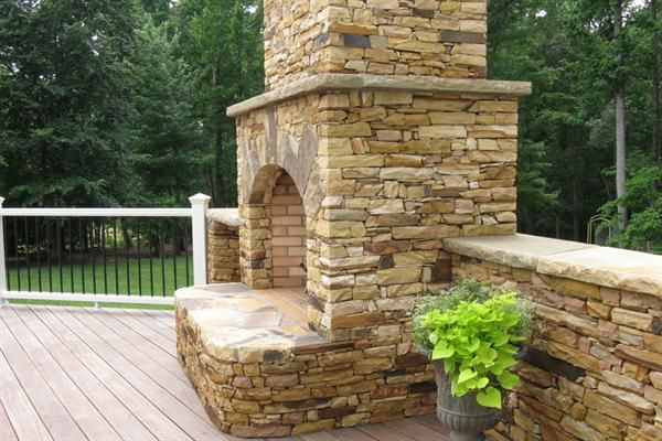 Side Of Stacked Stone Outdoor Fire Place For The Home Pinterest