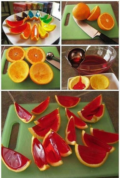 Jelly fruit....can be done with chocolate sauce and green apple