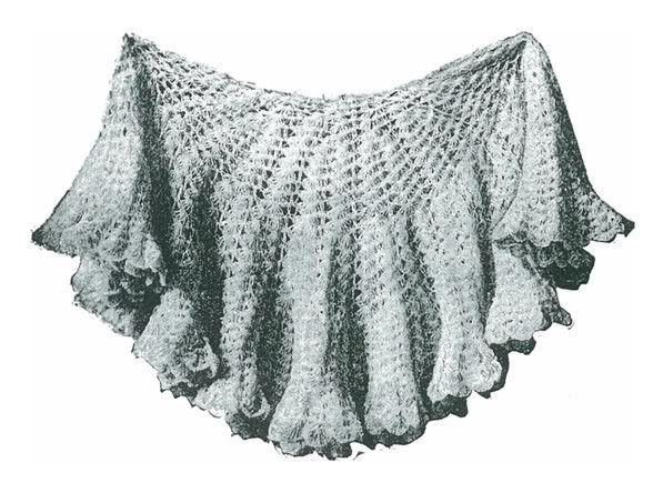 Ladies circular shawl crochet pattern #1152