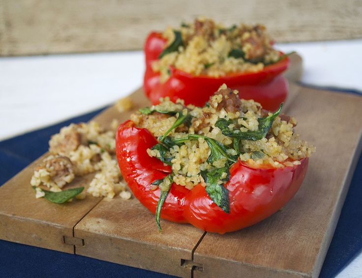 Spicy Italian Sausage stuffed peppers | Healthy living | Pinterest