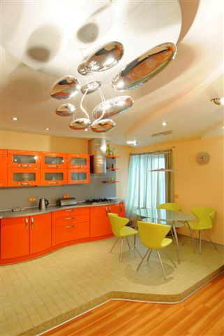 Green and orange kitchen  For the Home  Pinterest