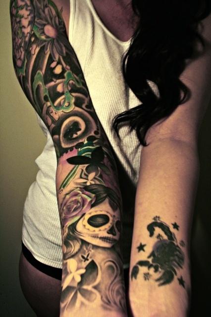 cool sleeve tattoo tattoos ink tattoos art pinterest. Black Bedroom Furniture Sets. Home Design Ideas
