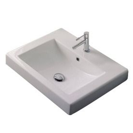 Square Drop In Bathroom Sink : ... Scarabeo Square White Drop-In Rectangular Bathroom Sink with Overflow