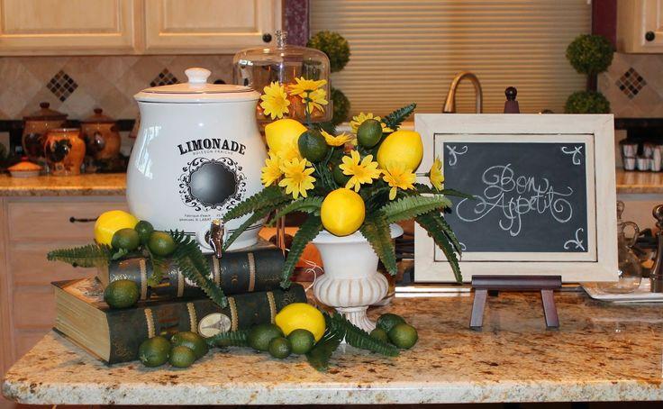 lemon tablescape home decor ideas Pinterest
