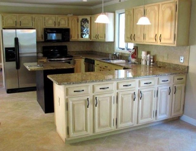 Pin by gretchen retteghieri on for the home pinterest - Cream distressed kitchen cabinets ...