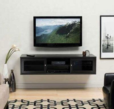 wall mounted tv with entertainment shelf home pinterest. Black Bedroom Furniture Sets. Home Design Ideas