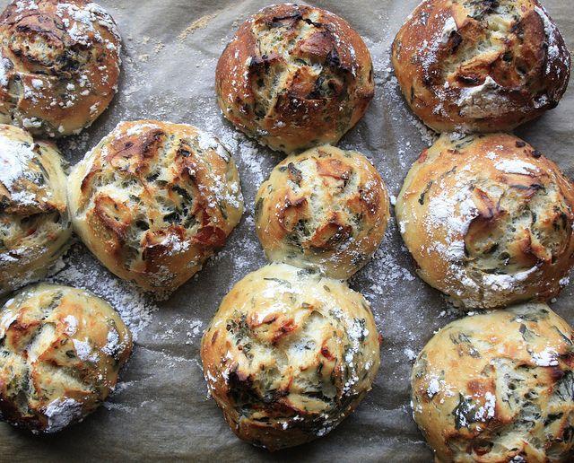 crusty spinach feta and sun dried tomato bread rolls