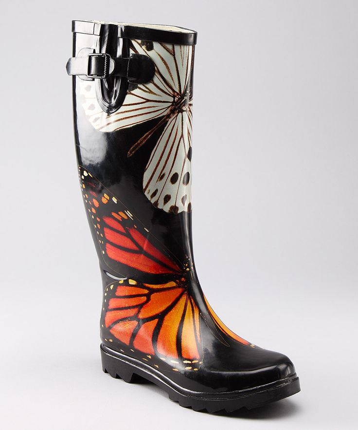 Cream & Orange Butterfly Rain Boot