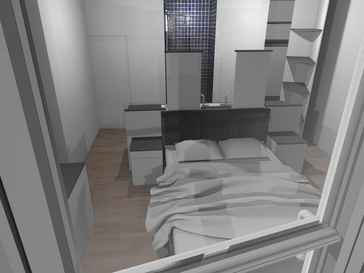 Faire d 39 une chambre de taille moyenne une suite avec wc for Chambre avec salle de bain ouverte