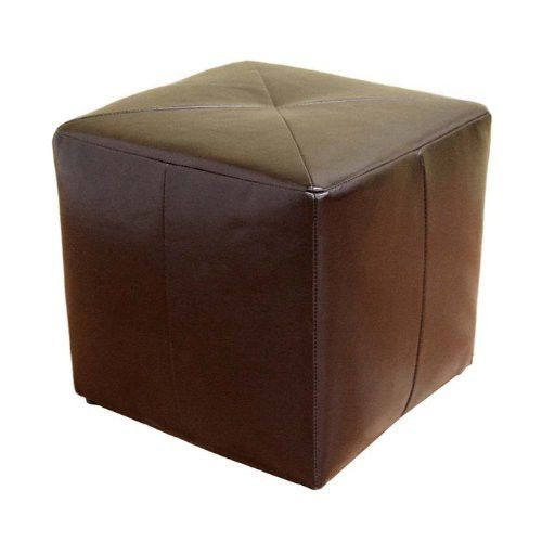 Modern Cube Shaped Brown Bonded Leather Ottoman Square