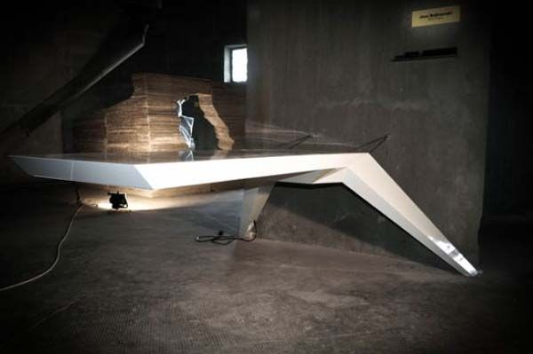 futuristic desk that seems to be levitating