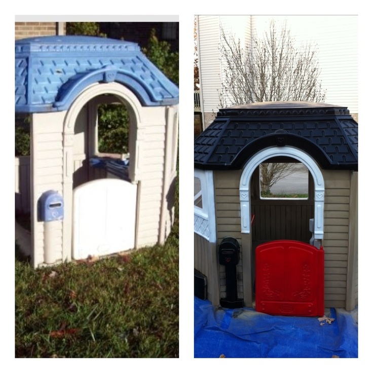 Little tikes cottage play house before and after hot for Little tikes house
