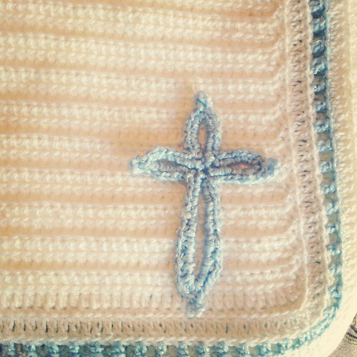 Crochet Jamie Stitch : Crocheted baptismal blanket. Double crochet stitch all the way (sorry ...