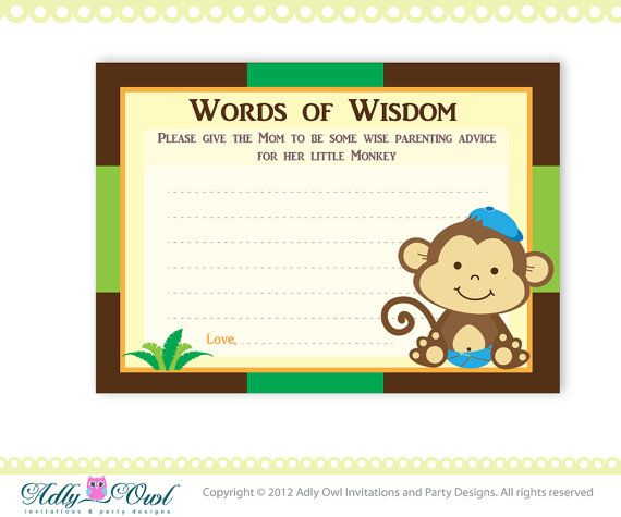 brown boy monkeys word of wisdom baby shower by adlyowlinvitations 4