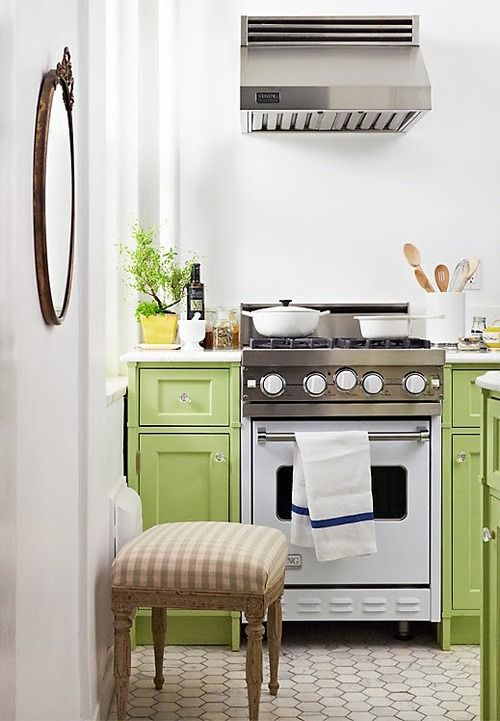 Small green kitchen!  Parakeet is our GREEN  Pinterest