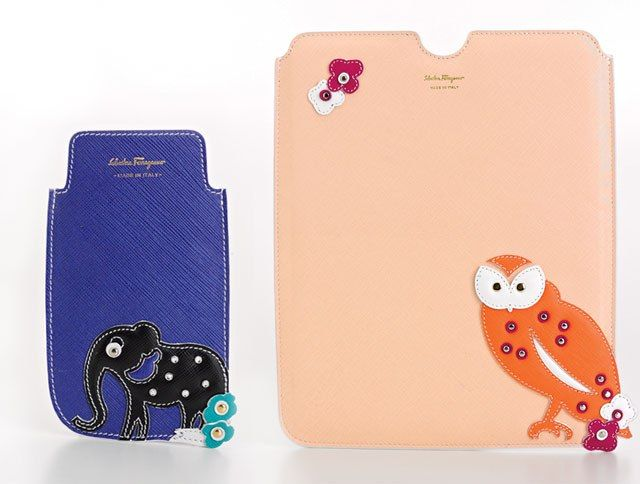 Animal Accessories | Salvatore Ferragamo blue leather elephant iPhone case and blush leather owl iPad case